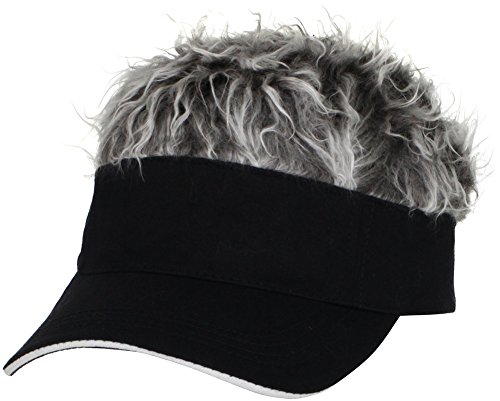 [Flair Hair Mens Visor with Gray Wig One Size Fits Most Black, Gray by Flair Hair] (Pirate Hair)