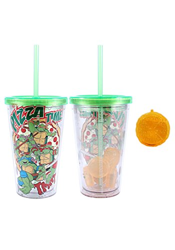 Silver Buffalo NT95087Q Nickelodeon Teenage Mutant Ninja Turtles Cold Cup with Pizza Shaped Ice Cubes, Multicolor -