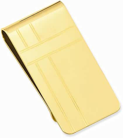 14k Gold Plated Criss Cross Pattern Engravable Money Clip