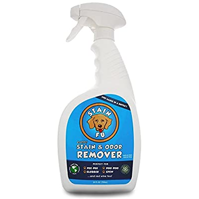 STAIN FU Carpet Stain & Odor Remover - Professional Strength Pet Odor Eliminator for Home and Office. Works Like Magic in a Bottle on Tough Dog & Cat Urine Pee Poop Vomit Slobber & Hundreds of Spills