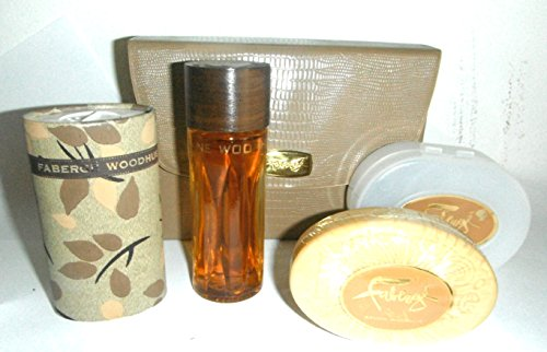 Faberge Big 2oz Woodhue Cologne Triplet Set with Soap and Shaker Powder for Women (Triplet Set)
