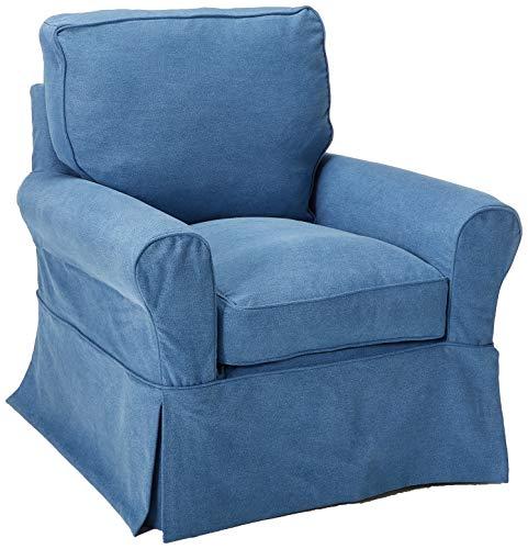 Sunset Trading SU-114993-410046 Horizon Swivel Rocking Chair, Indigo Blue (Chairs Slipcovered Club)