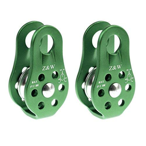 - 2 Pieces 20KN Fixed Side Climbing Pulleys Ball Bearing Micro Pulley Rappelling Rescue Safety Equipment