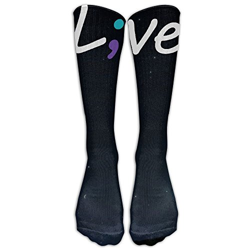 fan products of Suicide Prevention Awareness Live Love Semicolon Compression Thigh High Socks For Women And Men   Athletic Tube Stockings