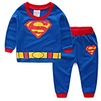 Boys Pajamas Sets Children Christmas Pants 100% Cotton Long Kids Snug Fit Pjs Winter Toddler Sleepwear (Blue, 3T)