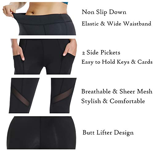 a2b2bed5c26f7c Joyshaper Mesh Panel Workout Leggings for Women Sport Gym Tights Fitness  Running Cutout Sexy Yoga Pants