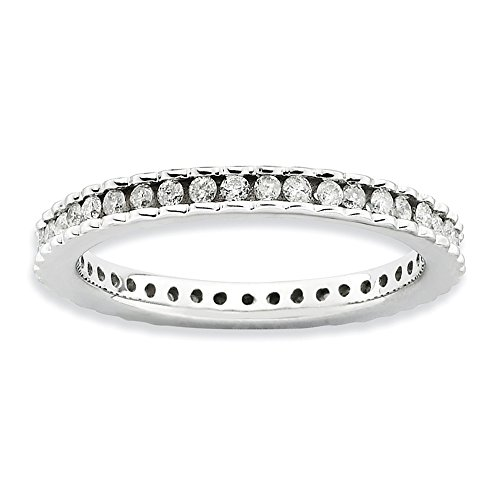 Diamond (I3, J-K 0.5 cttw) Size 6 2.25mm Waved Eternity Band Silver Stackable Expressions Ring by Stackable Expressions