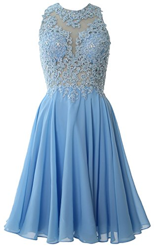 MACloth Women High Neck Lace Cocktail Dress Short Prom Homecoming Formal Gown Cielo azul