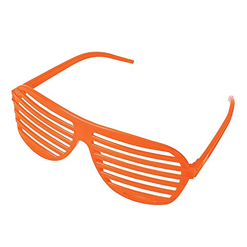 Fun Express - Orange Shutter Shades - Apparel Accessories - Eyewear - Novelty Glasses - 12 Pieces ()