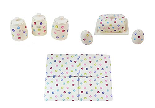 (10 PIECE PRINTED SPOTS DOTS TEA COFFEE SUGAR CANISTERS BUTTER DISH SALT PEPPER SHAKERS PLACEMATS)