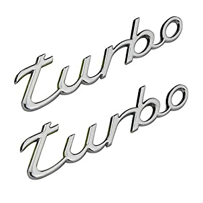 2pcs Metal TURBO Premium Car Side Fender Rear Trunk Emblem Badge Decals Universal (Sliver Turbo): Automotive