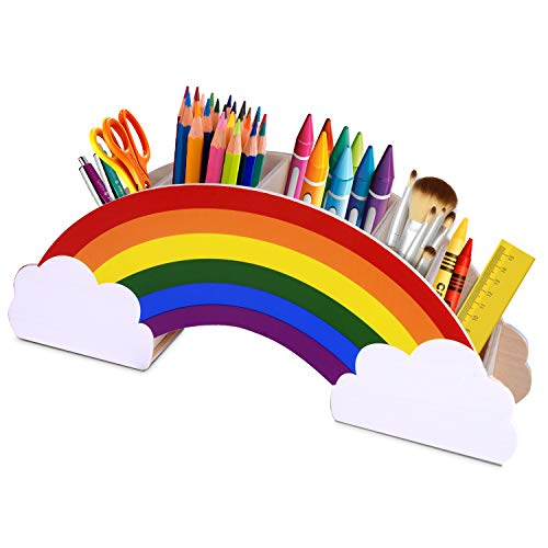 Gamenote Wooden Pen Holder & Pencil Holders – Rainbow Supply Caddy Phone Holder Desk Organizer for Office Supplies…