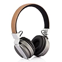 Tera Wireless Bluetooth Stereo Headphone Wireless On-Ear Folding Hi-Fi Stereo Headset with Microphone Noise Canceling Lightweight Enhanced Bass TF Card FM Radio for iPhone Android Laptop Color Silver