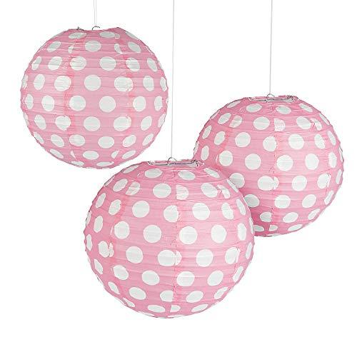 Fun Express - Light Pink Polka Dot Paper Lantern for Party - Party Decor - Hanging Decor - Lanterns - Party - 6 -