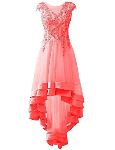 Damen Hi Lang Lo Cocktailkleider Asymmetrisch Abendkleider Partykleid Ballkleid Koralle Appliques Carnivalprom pxHBUPB