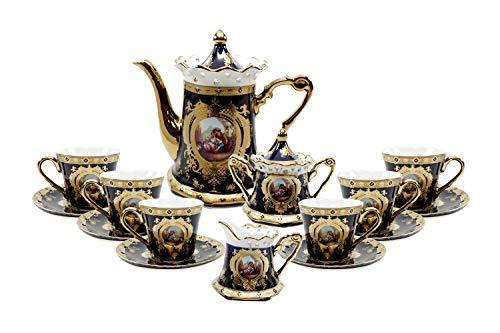 - Royalty Porcelain 17pc Cobalt Blue Tea set 'Second Date' Flower Print Tableware