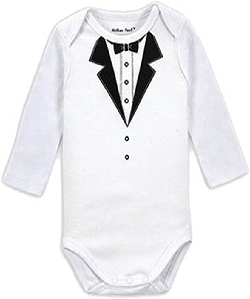 Babi-Biz Boy Romper Tuxedo Bowtie Long Sleeve NO Legs 0-3 Months White