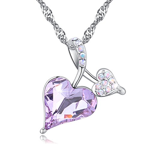 Alvdis Premium Love Heart Shaped Purple Crystal Necklace - Genuine Swarovski Crystal Elements Pendant - Swarovski Genuine Necklace