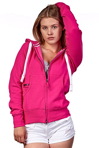 Happy Clothing Damen Sweatjacke mit Kapuze Zip Hoodie Kapuzenjacke Basic Einfarbig S M L