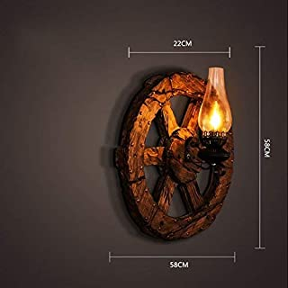 ZHYXZ Lámpara de Pared Original Cleaner Hotel, Bar Kindle Lanterns Decorated Cafe Industria Iron Style Wooden Craze,# 3
