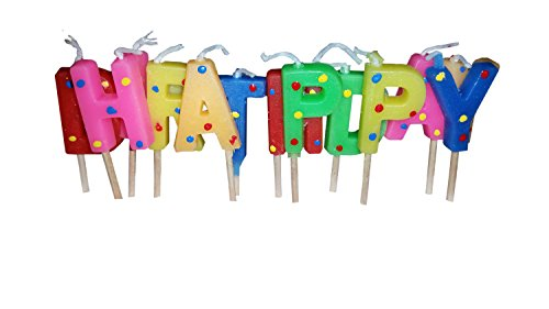 - Decor Hut Happy Birthday Candles, Cake Toppers, Toothpicks for Easy Inserting, Glitter & Polka Dots (Glittery)