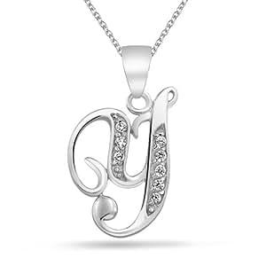 Bling Jewelry CZ Cursive Alphabet Letra y chapados en rodio Colgante Collar de 16 pulgadas
