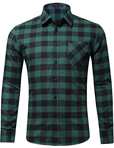 Flannel Brawny Shirt - DOKKIA Men's Dress Slim Fit Buffalo Plaid Checked Long Sleeve Flannel Shirts (Green Black Buffalo, Large)