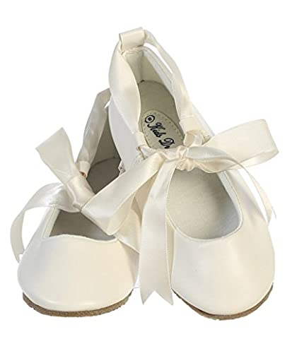 iGirlDress Dazzling Ballerina Flats Shoes with Satin Ribbon Ties 12 Ivory