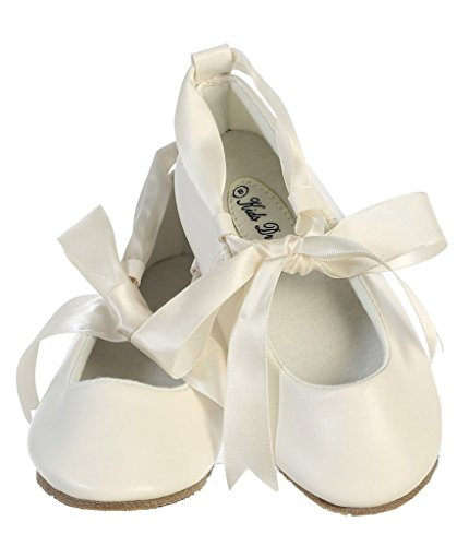 iGirlDress Dazzling Ballerina Flats Shoes with Satin Ribbon Ties 2Y Ivory