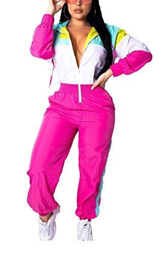 Bluewolfsea Women's One Piece Pants Outfits Colorblock Windbreaker Long Sleeve Zipper Front Hoodie Jumpsuit Romper (Large, 1-Pink White)