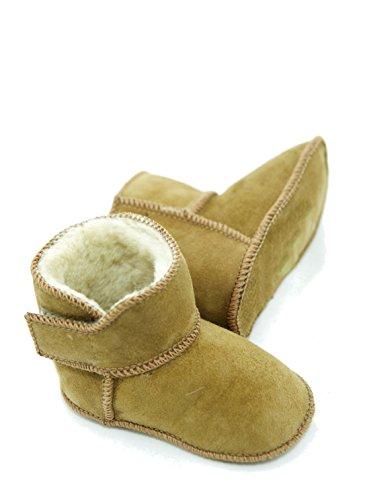 Lammfellschuhe Babyschuhe Hausschuhe Jungen Madchen Fell Adb-0002 Klettverschluss Leder Echt Cognac Krabeln Baby Stiefel Schuhe