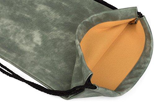 styleBREAKER bolsa de deporte de cuero artificial, mochila, bolsa de deporte, bolso, unisex 02012189, color:Gris claro Verde jade