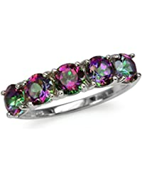 3.8ct. 5-Stone Mystic Fire Topaz White Gold Plated 925 Sterling Silver Ring