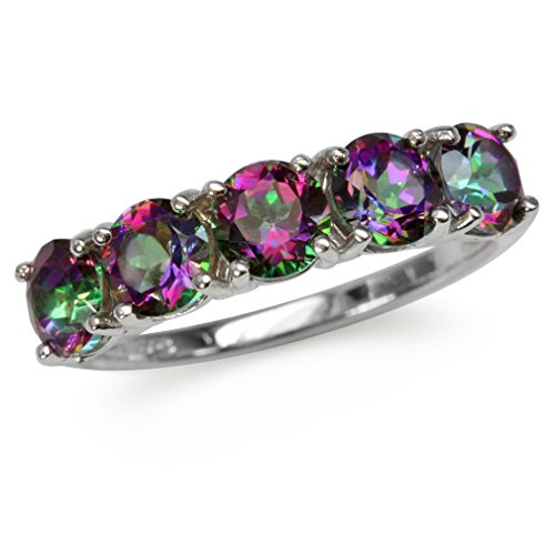 3.8ct. 5-Stone Mystic Fire Topaz White Gold Plated 925 Sterling Silver Ring Size ()