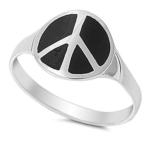 Peace Onyx - Simulated Black Onyx Peace Sign Love Joy Symbol Ring .925 Sterling Silver Band Size 9