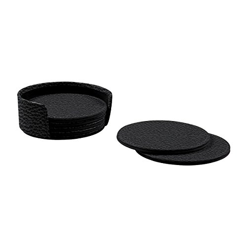 Lucrin - Set of 6 Round Real Leather Coasters with Coaster Holder - Black - Granulated Leather by Lucrin (Image #2)