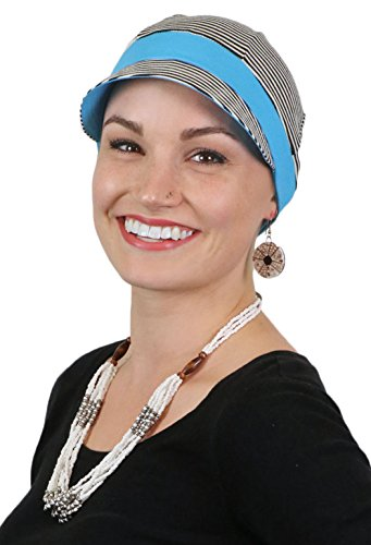 Whimsy Stripes - Chemo Hats for Women Cancer Headwear Headcoverings Cute Baseball Caps Whimsy Sport (Black and White Stripe)