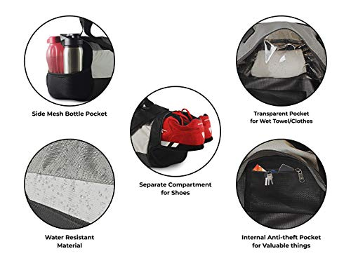 41kVKpl3tkL TopGator Gym Bag Sports Duffel with Shoe Compartment 34 L (Grey/Black)