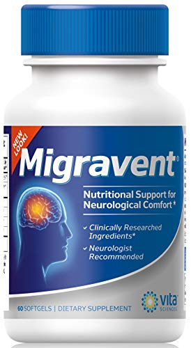 Migraine Relief Clinics Recommend Migravent as #1 Supplement to Support Optimal Cranial Comfort & Health, w/Vitamin B2, Riboflavin, Magnesium, Coenzyme Q10, PA-Free Butterbur. (Best Migraine Prevention Medicine)