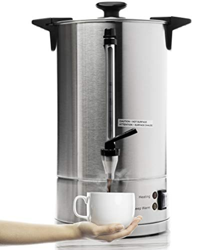 SYBO RCMO15S-16C Commercial Grade Stainless Steel Percolate Coffee Maker Hot Water Urn 100-Cup Capacity for Catering, 16 Liter, Metallic