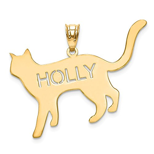 Cat Silhouette Custom Personalized Pendant Charm with Name Made in 14K Yellow Gold from Roy Rose Jewelry
