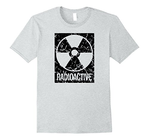 Mens Funny Vintage Distressed Radioactive symbol Halloween shirt Large Heather Grey (Fallout Halloween Costume)