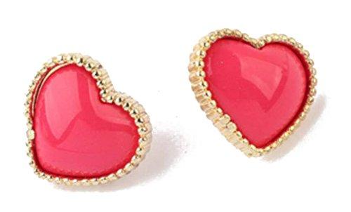 JSDY Womens Enamel Candy Color Heart Big Ear Stud Earrings Fashion Cheap Jewelry Pink