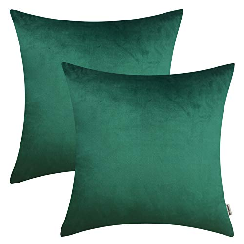 HOMFINER 20x20 inch Velvet Solid Decorative Throw Pillow Covers for Couch Sofa Bedroom Emerald Green 20