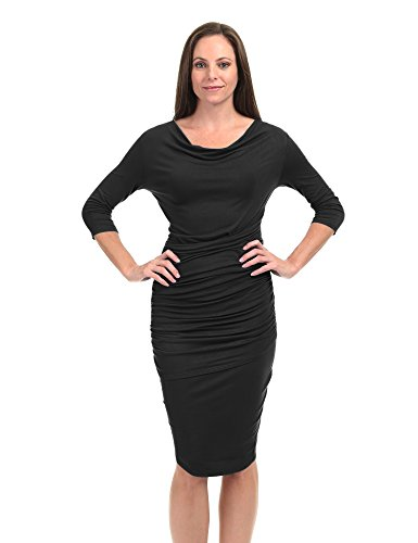 Pleated Cowl Neck Dress (Come Together California CTC WDR1185 Womens Cowl Neck 3/4 Sleeve Pleated Detail Dress L Black)