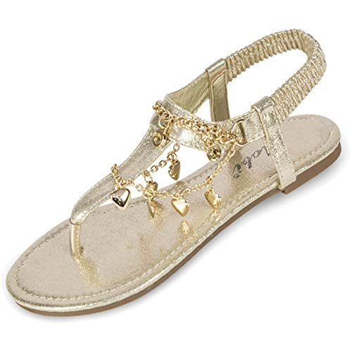 - Women's Flats Sandals Soft Cushion Casual for Comfort Thong Style Beach Summer Holiday Party - Rome Gold 9 M US