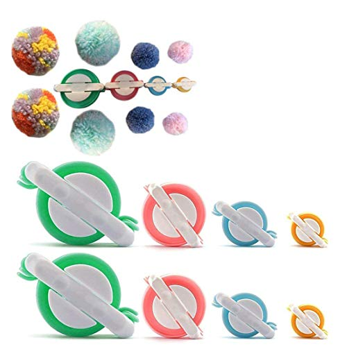STSTECH Pompom Maker for Fluff Ball on Hats Gift Box Father's Day,Plush Toy Decoration, Pom Pom Knitting Loom Kit for DIY Wool Yarn Crochet Craft Tool 4 Sizes,Set of 8