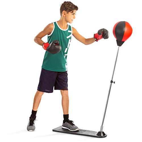 Tech Tools Boxing Ball Set with Punching Bag, Boxing Gloves, Hand Pump & Adjustable Height Stand - Strong Durable Spring Withstands Tough Hits for Stress Relief & Fitness