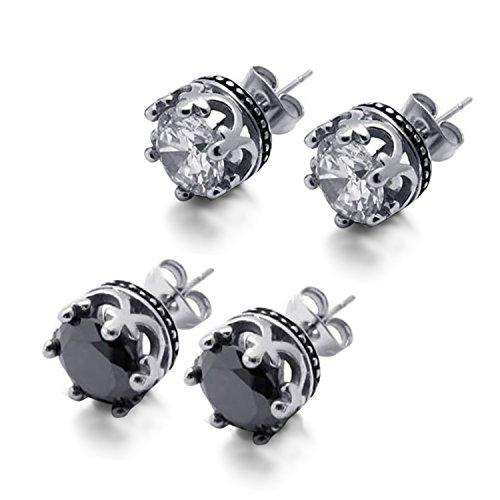 Cupimatch 4Pcs Stainless Steel Cubic Zirconia Royal Crown Piercing Stud Earrings for Women Men by Cupimatch