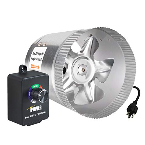 iPower 6 Inch 240 CFM Booster Fan Inline Duct Vent Blower with Variable Speed Controller Adjuster